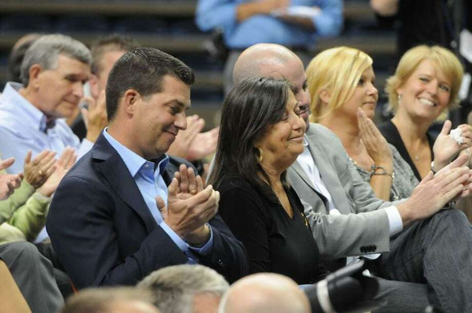 UConn men's basketball coach Jim Calhoun's son and wife at the press conference Thursday. Peter Hvizdak/Register