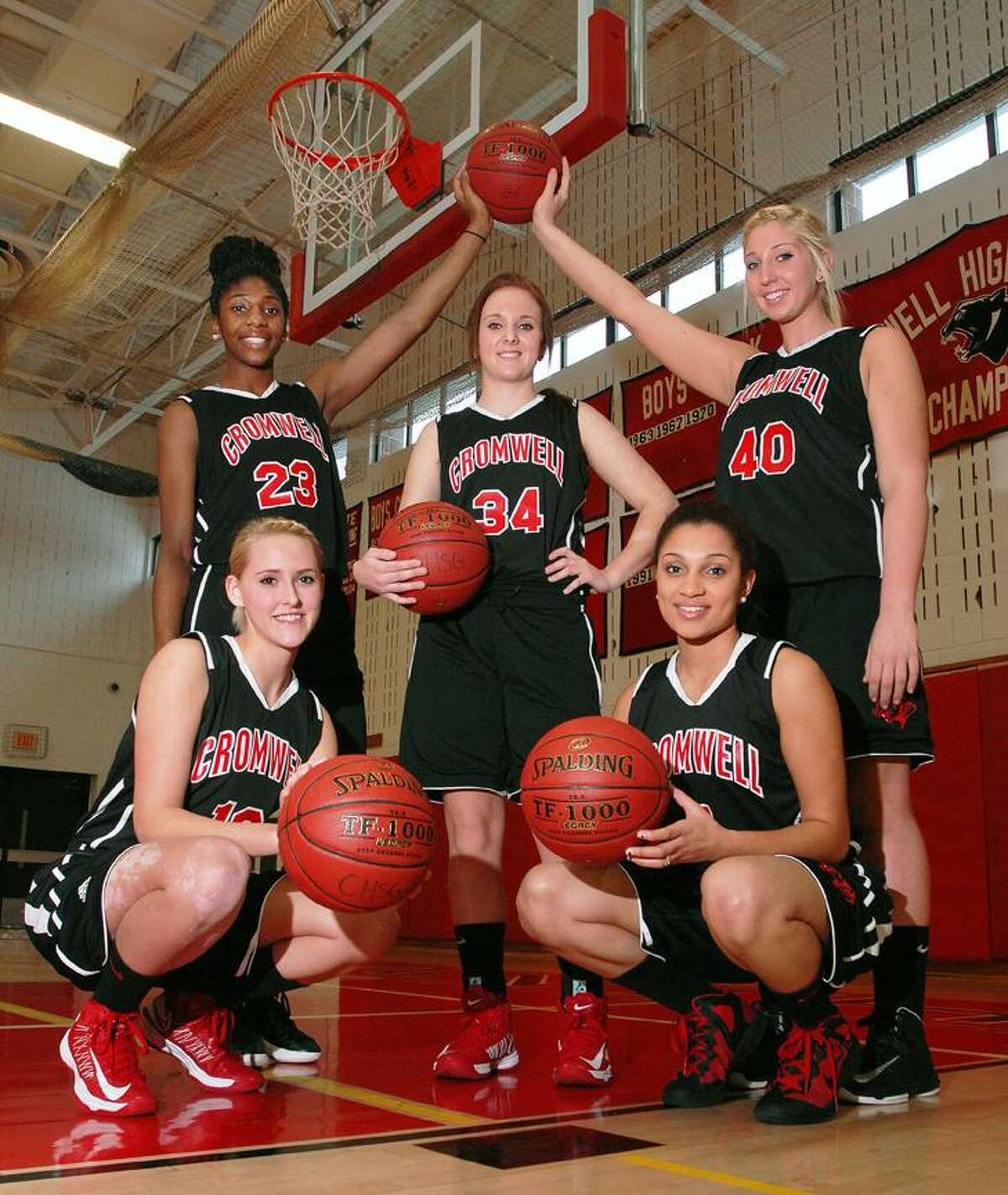 Catherine Avalone/The Middletown Press The starting five for unbeaten Cromwell girls basketball: (front row, left to right) Emily Appleby, Alexa Riley; (second row) Janelle Harrison, Kelly Flanigan, Lindsay Langenauer. Cromwell (13-0) plays at Old Saybrook Friday at 7.