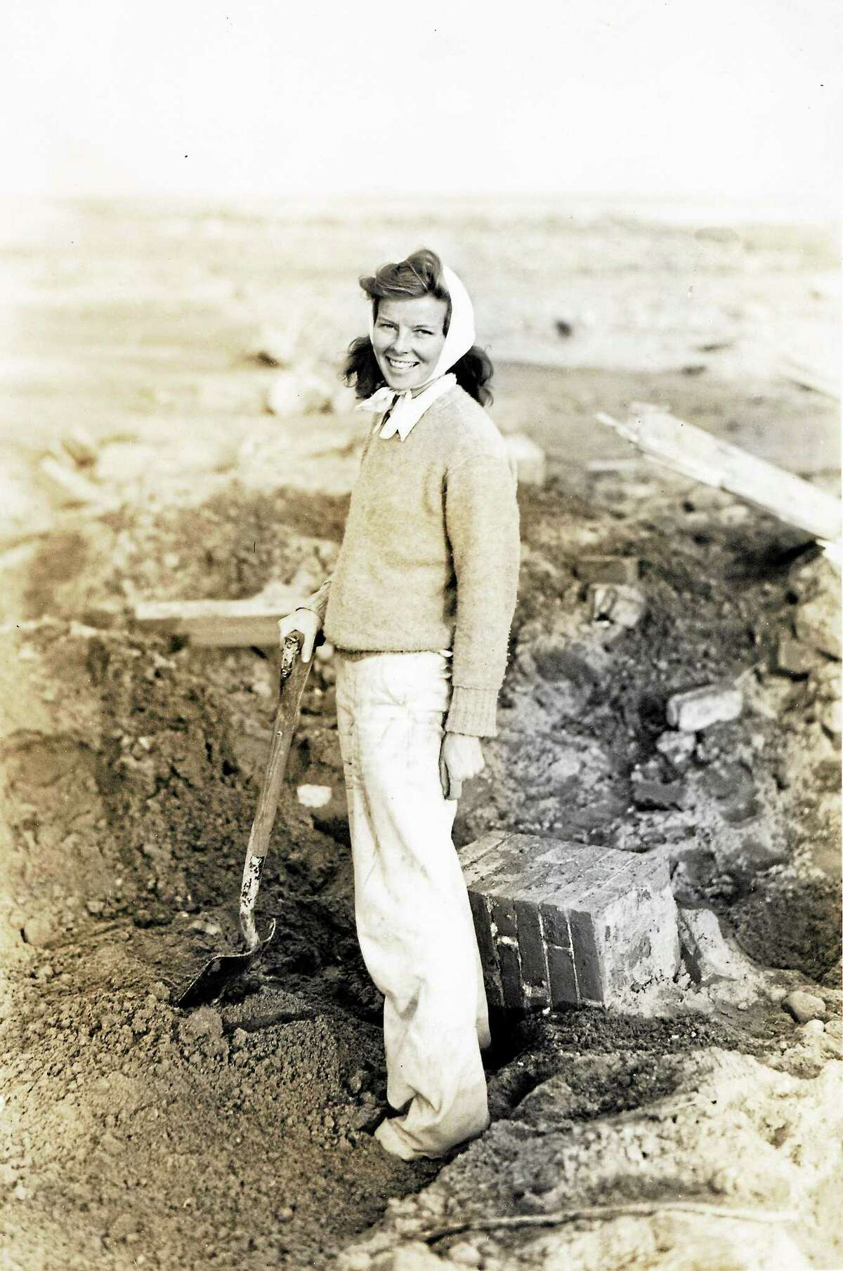 Katharine Hepburn amid the remains of her home in Old Saybrook after the Hurricane of '38.
