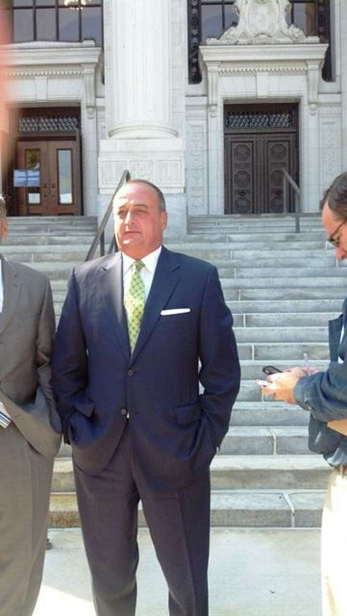 Norwalk's Republican state Rep. Larry Cafero outside the Connecticut Supreme Court building in Hartford photo by Jordan Fenster
