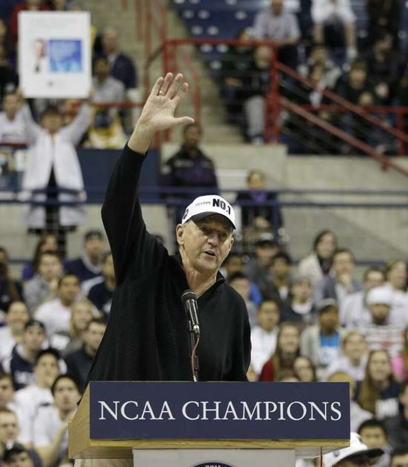 University of Connecticut's head coach Jim Calhoun after winning the Men's NCAA College Basketball Championship on Monday night in Houston during a pep rally the University of Connecticut in Storrs, Tuesday, April 5, 2011. (AP Photo/Charles Krupa) Photo: AP / AP2011