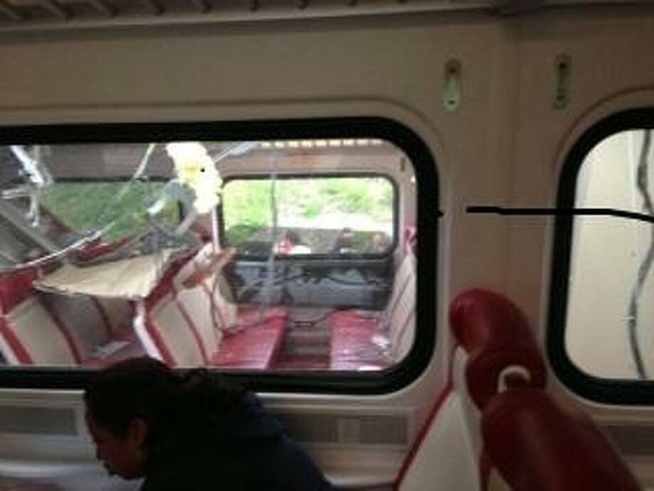 View of one of the cars involved in the collision, as seen by a passenger on one of the trains Photo by Helen Dodson