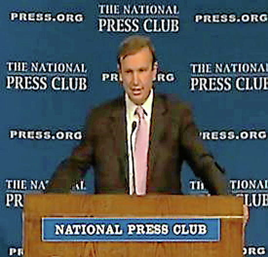 Sen. Chris Murphy at the National Press Club's Spelling Bee Wednesday. (Screenshot of NPC video/Connecticut Magazine) Photo: Journal Register Co.