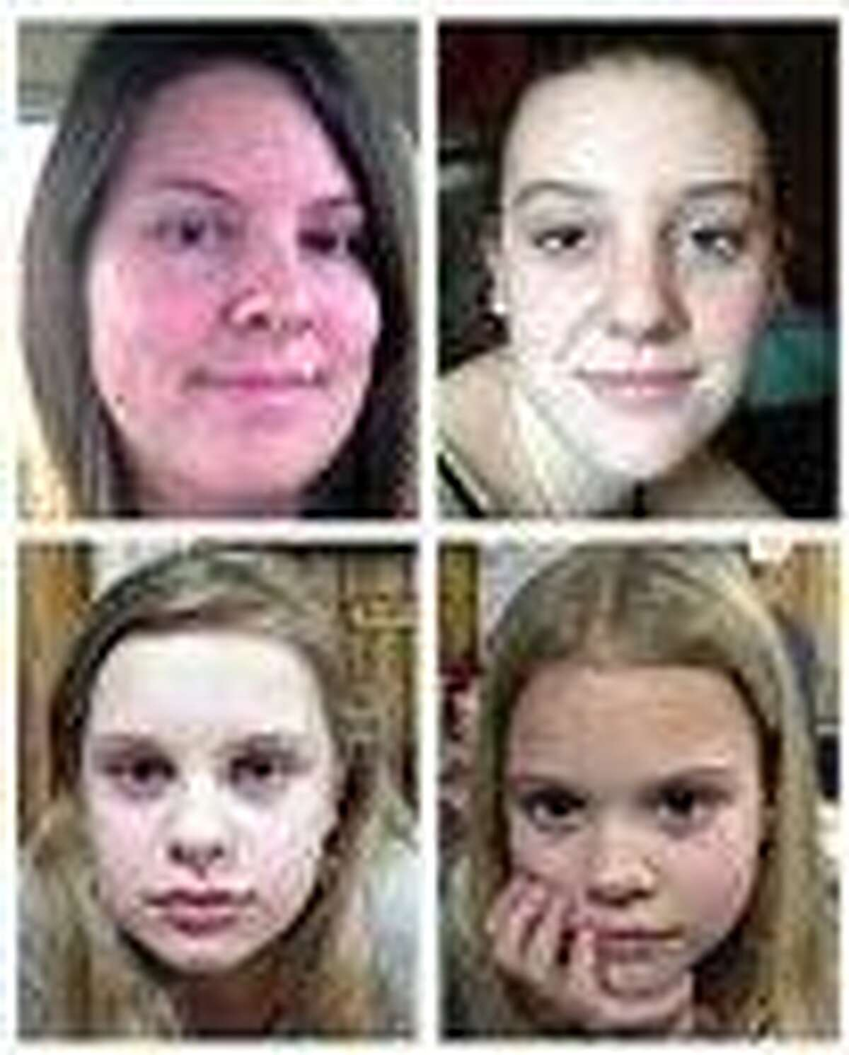This file combo image of undated photos provided by the Mississippi Department of Public Safety shows, clockwise from top left, Jo Ann Bain and her daughters: Adrienne, 14; Kyliyah 8; and Alexandria, 12. Bain and her daughters disappeared April 27. The bodies of Jo Ann Bain and Adrienne Bain were found last week behind the mobile home in northern Mississippi where suspect Adam Mayes lived. The FBI said May 8 that authorities were hopeful the two young girls -- Alexandria and Kyliyah -- were still alive, but declined to say why. Associated Press