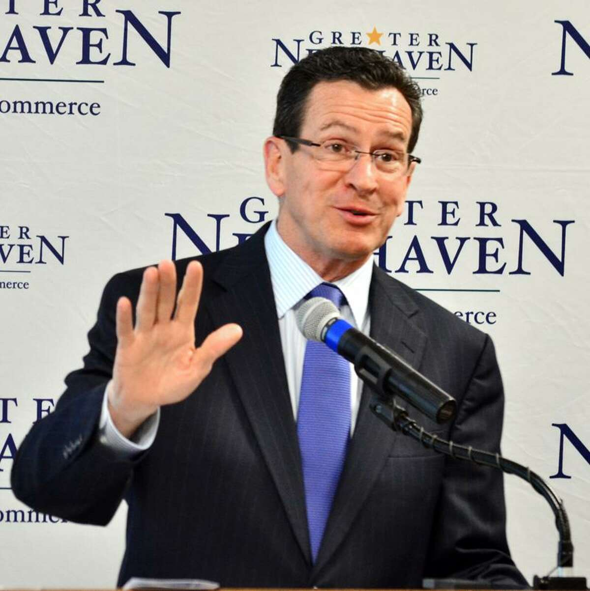 NEW HAVEN--Governor Dannel Malloy speaking at a Greater Chamber of Commerce meeting at Assa Abloy. Melanie Stengel/Register