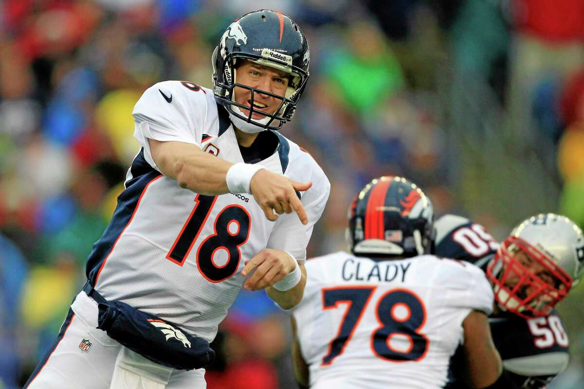 In this Oct. 7, 2012, file photo, Denver Broncos quarterback Peyton Manning (18) follows through on a pass as tackle Ryan Clady (78) blocks New England Patriots defensive end Rob Ninkovich (50). Clady, the man in charge of protecting the four-time NFL MVP's blind slide, is out for the season with a foot injury.