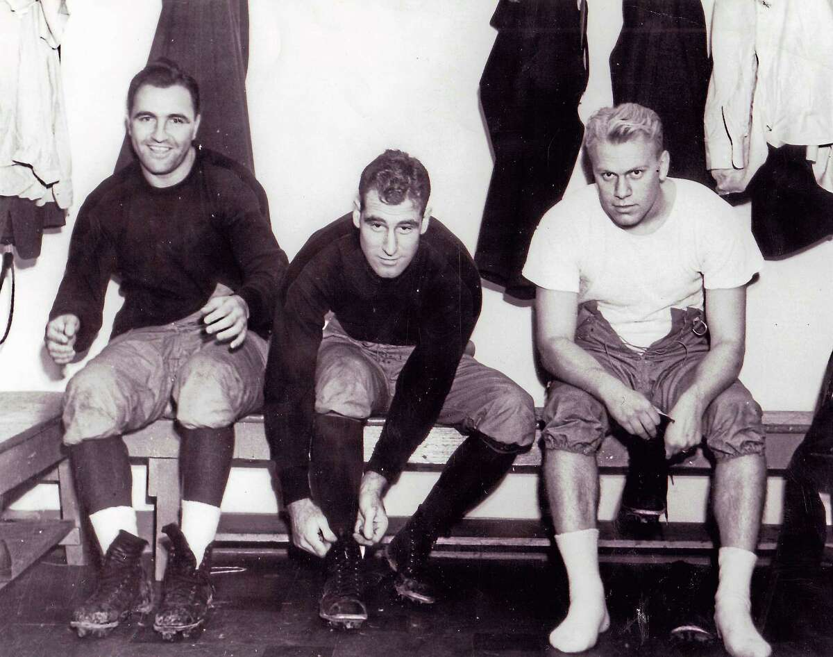 From left, Yale assistant coaches Jim DeAngelis, Ivy Williamson and future President of the United States Gerald Ford.