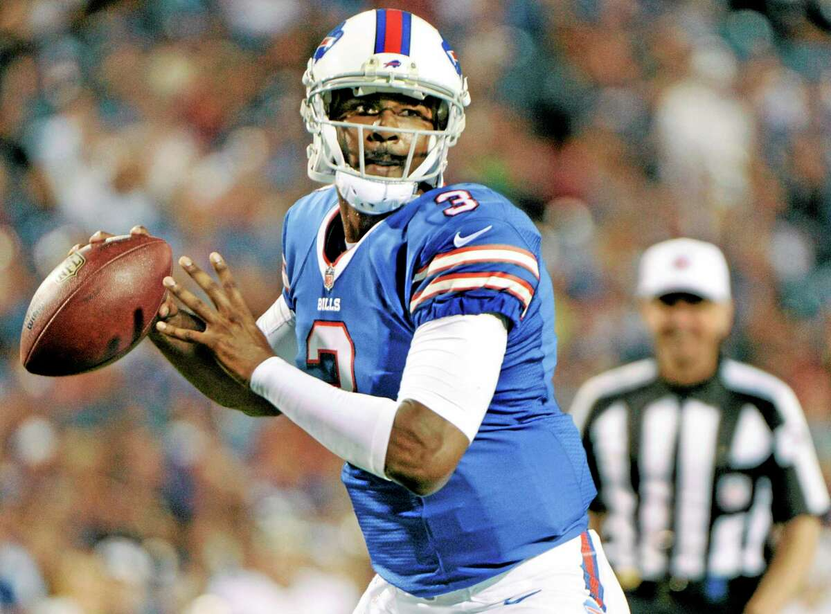 In this Aug. 16 file photo, Bills quarterback E.J. Manuel looks to pass downfield during the second half of a preseason game against the Minnesota Vikings in Orchard Park, N.Y.
