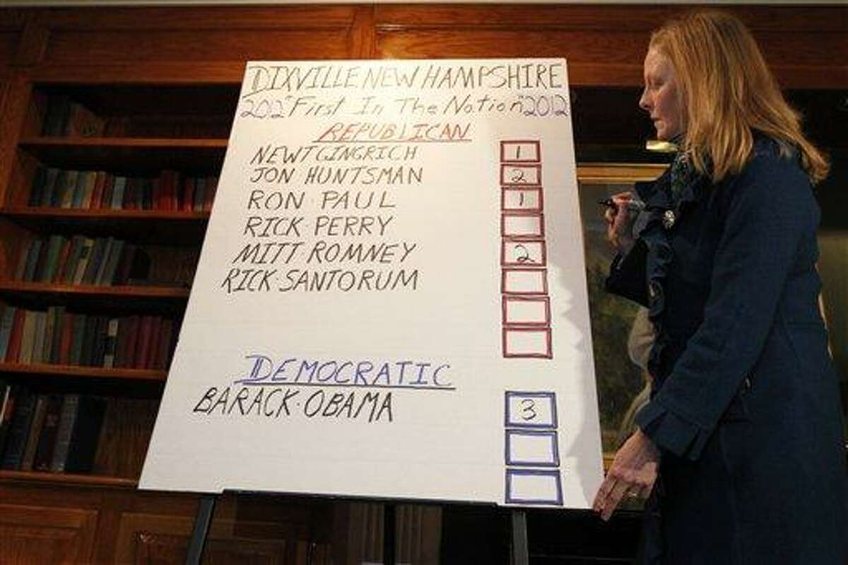Donna Kaye Erwin looks at the totals for the first-in-the-nation presidential primary, at The Balsams Grand Resort, Tuesday, in Dixville, N.H. Associated Press