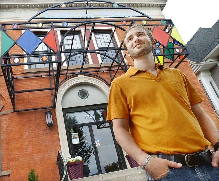 Matt Pugliese, director of the Oddfellows Playhouse, is seen in front of the Middletown building. (Catherine Avalone