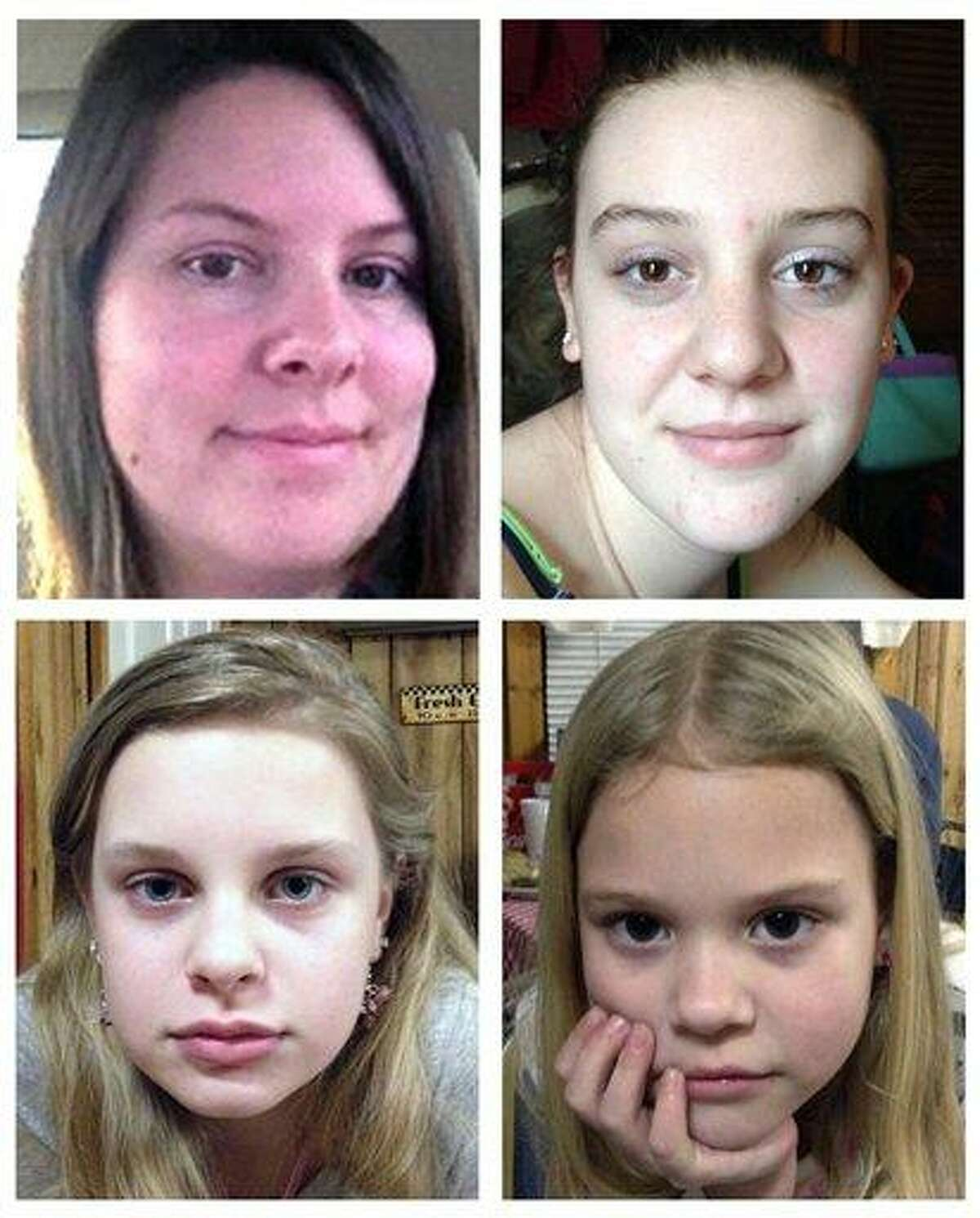This combo image made of undated photos provided by the Mississippi Department of Public Safety shows, clockwise from top left, Jo Ann Bain and her daughters, Adrienne, 14, Kyliyah 8, and Alexandria, 12. Associated Press