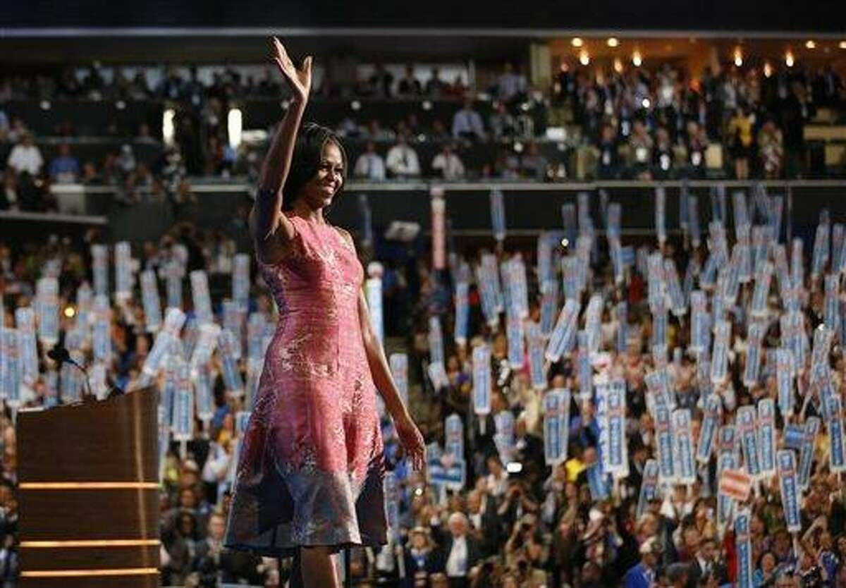 First lady Michelle Obama waves after addressing the Democratic National Convention Tuesday in Charlotte, N.C. Associated Press