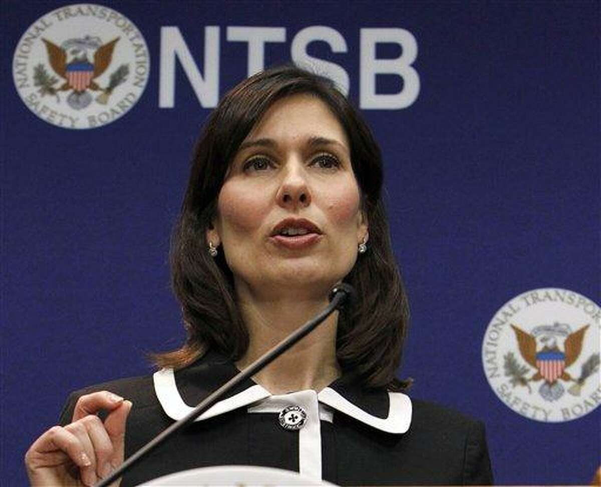 """FILE - In this Feb. 7, 2013 file photo, National Transportation Safety Board (NTSB) Chair Deborah Hersman speaks during a news conference in Washington. Federal accident investigators were weighing a recommendation Tuesday that states reduce their threshold for drunken driving from the current .08 blood alcohol content to .05, a standard that has been shown to substantially reduce highway deaths in other countries. Hersman said. """"Alcohol-impaired deaths are not accidents, they are crimes. They can and should be prevented. The tools exist. What is needed is the will."""" (AP Photo/Ann Heisenfelt, File)"""