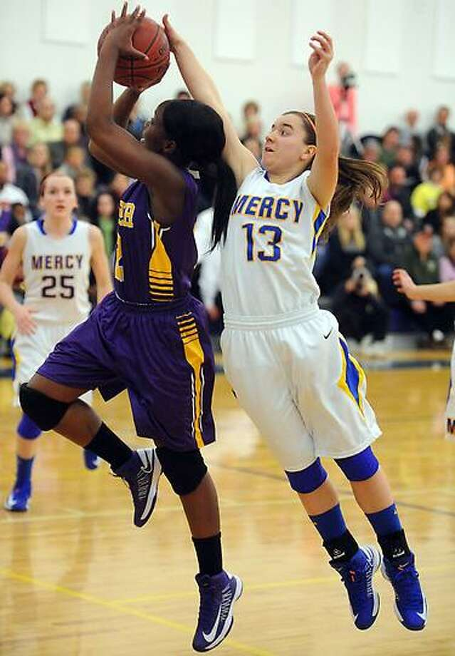 Career at Mercy, girls basketball.  Mara Lavitt/New Haven Register1/9/13