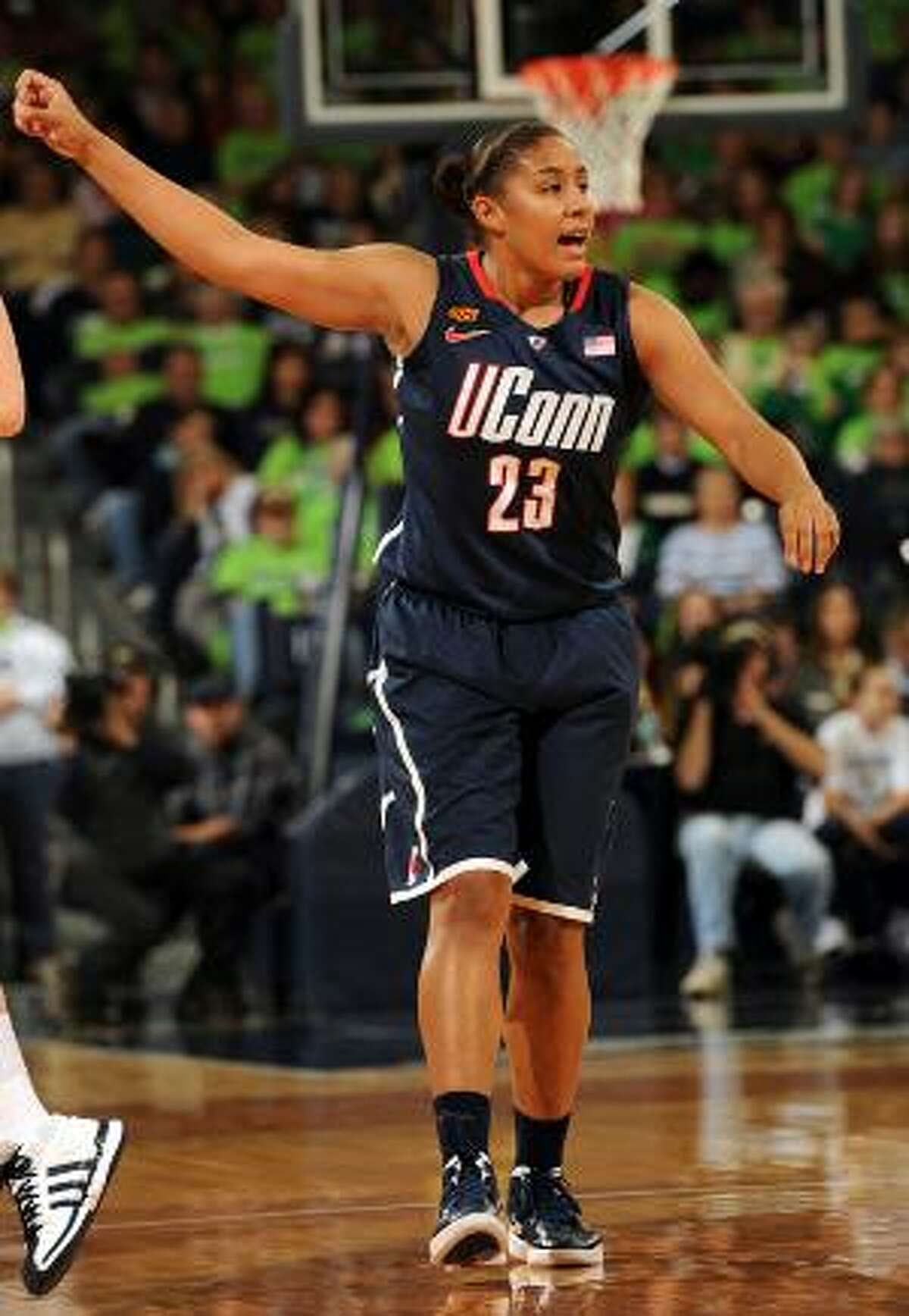 ASSOCIATED PRESS Connecticut forward Kaleena Mosqueda-Lewis gestures during the first half of Saturday's game against Notre Dame in South Bend, Ind. Connecticut lost to Notre Dame 74-67 in overtime.