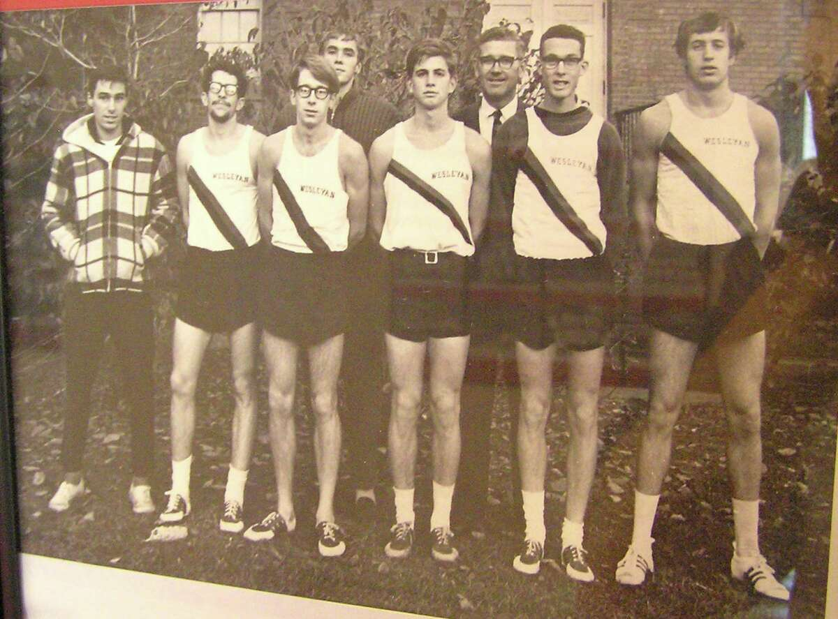 Sporting his Wesleyan singlet, Ambrose Burfoot races to first place in the 1968 Boston Marathon, becoming the first collegian to do so. Burfoot graduated in 1968 and later became editor-in-chief at Runner's World Magazine.