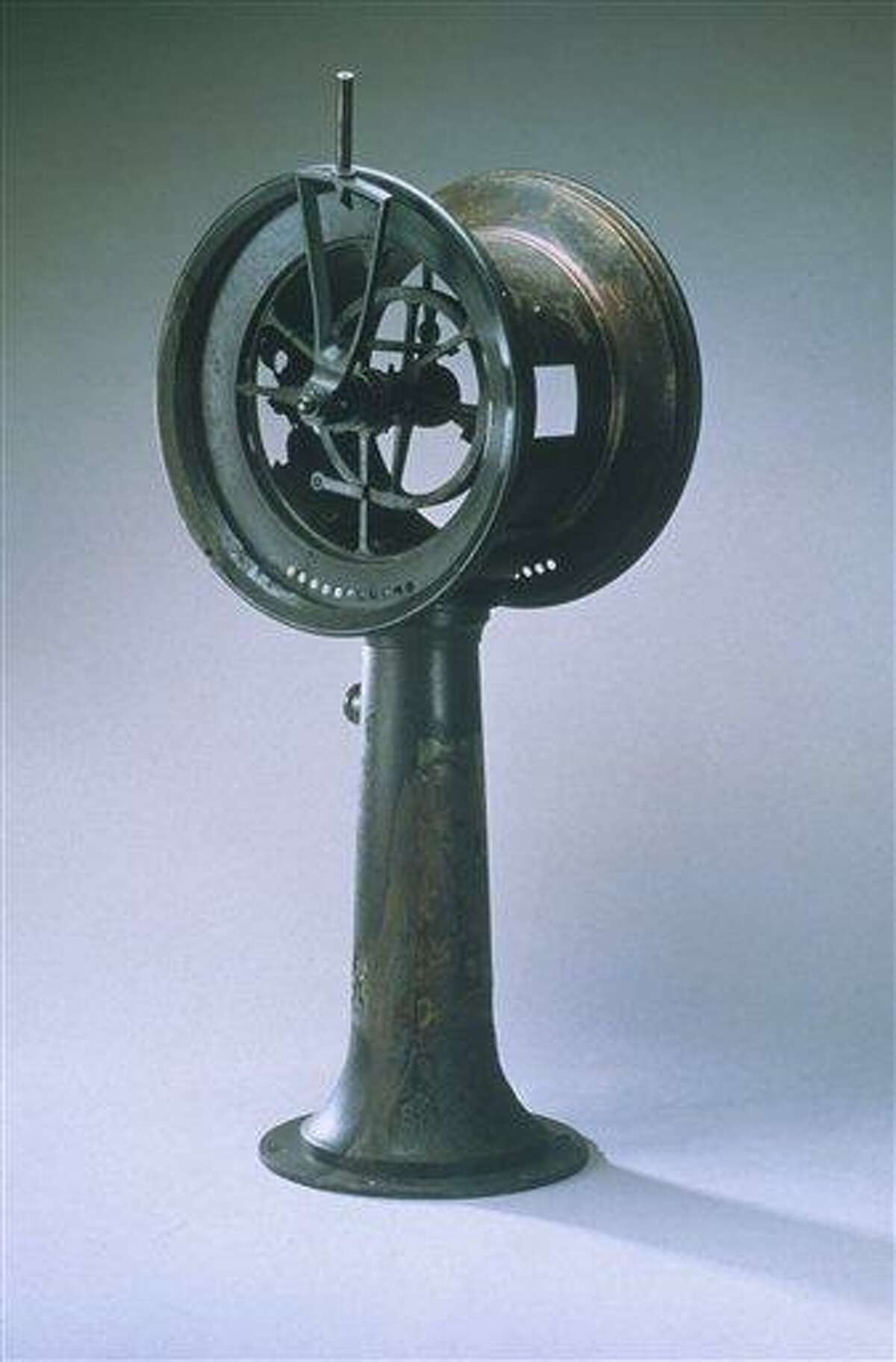 This October 19, 2011, image provided by RMS Titanic, Inc. shows a ship's telegraph from the Titanic, which was recovered from the ocean floor during an expedition to the site of the tragedy. The piece, along with 5,000 other artifacts, will be auctioned as a single collection on April 11, 2012, 100 years after the sinking of the ship. (AP Photo/RMS Titanic, Inc.)