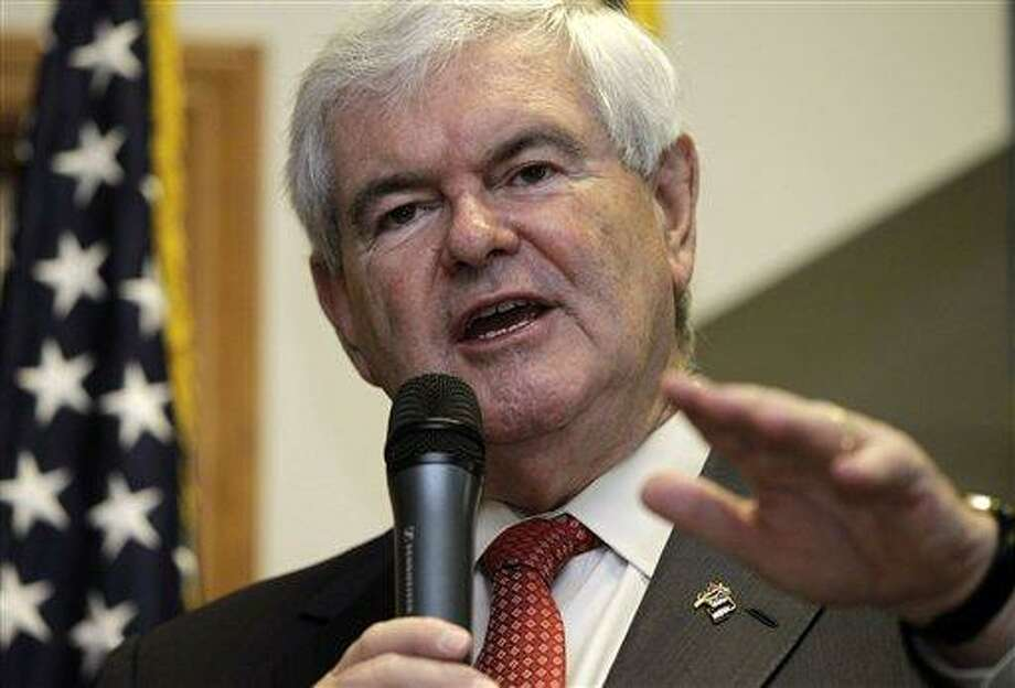 Republican presidential candidate, former House Speaker Newt Gingrich speaks April 25 in Cramerton, N.C. Associated Press Photo: AP / AP