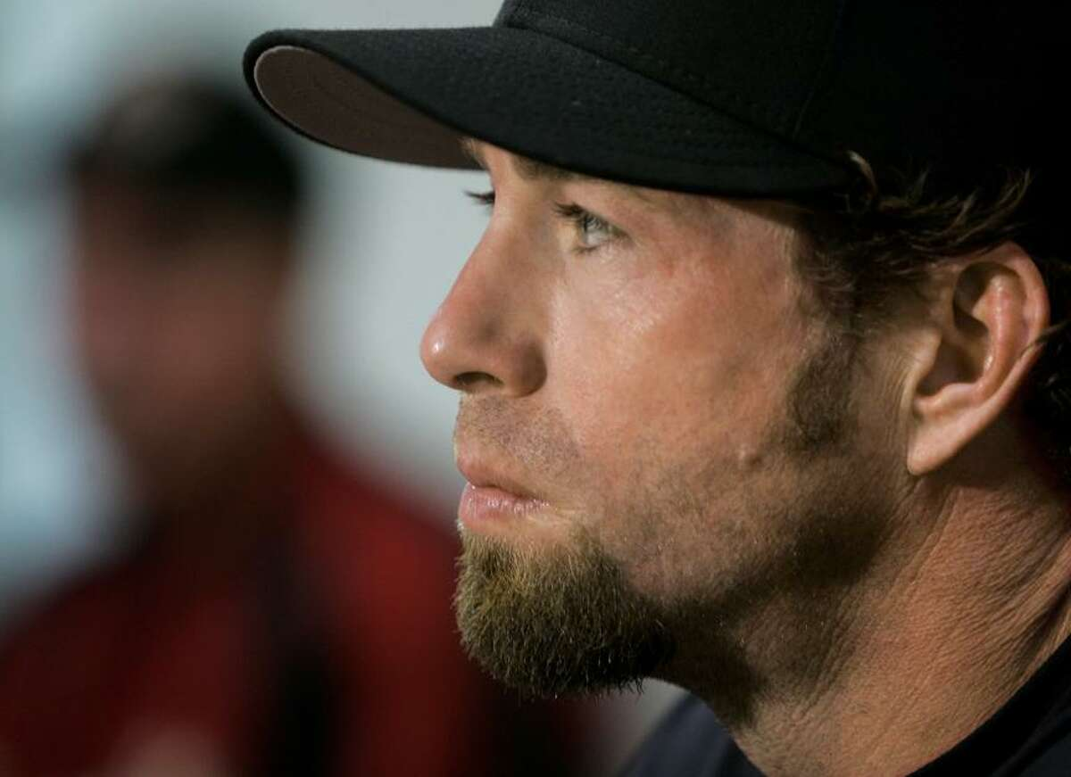 Houston Astros' Jeff Bagwell answers questions during a news conference Saturday, March 25, 2006, in Kissimmee, Fla. Bagwell said Saturday he will start the season on the disabled list and isn't sure if he'll return this year. The 37-year-old Bagwell, perhaps the most popular player in franchise history, spent the spring in a contentious battle with the team while he tried to prove he could still play despite a chronically injured right shoulder. (AP Photo/Tony Dejak)