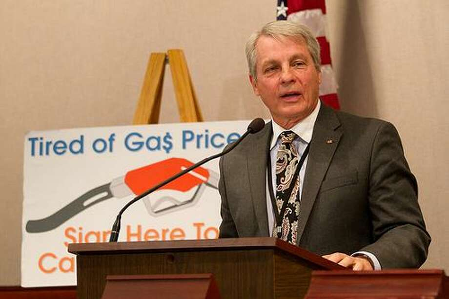 Sen. Len Suzio (R- Meriden) speaks during his Jan 5. press conference at the State Capitol to announce his push to cap the gas tax (submitted photo).
