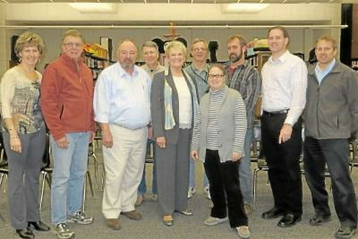The building committee members, from left, are Cynthia Abraham, Roy Gauthier, Steve Karney, Tom Sewdewitz, chairwoman Sharon Smith, David Ninesling, vice-chairwoman Michelle Barber, Tom Cooke, Mike Zimmerman and parent liaison Keith Klemonski. Submitted photo.
