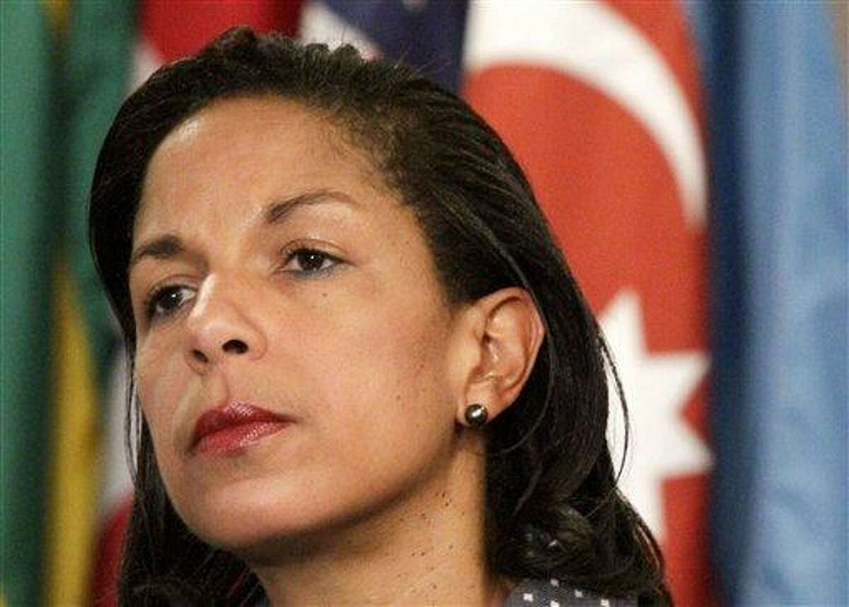 FILE - This June 7, 2012 file photo shows U.S. Ambassador to the U.N. Susan Rice listening during a news conference at the UN. Senior State Department officials pressed for changes in the talking points that U.N. Ambassador Susan Rice used after the deadly attack on the U.S. diplomatic mission in Libya last September, expressing concerns that Congress might criticize the Obama administration for ignoring warnings of a growing threat in Benghazi. (AP Photo/Bebeto Matthews)