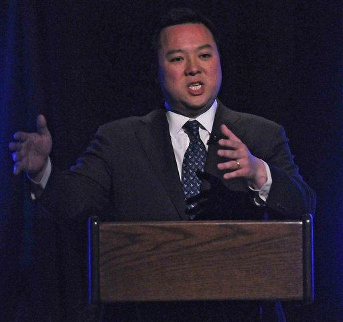 Democratic Senate candidate for U.S. Senate, state Rep. William Tong gestures April 9 during a debate in Storrs. Associated Press file photo