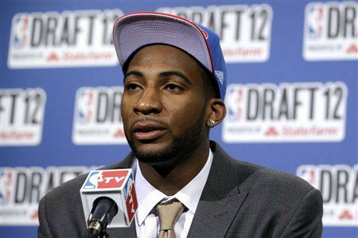 Connecticut's Andre Drummond talks to reporters after being selected No. 9 by the Detroit Pistons during the NBA basketball draft, Thursday, June 28, 2012, in Newark, N.J. (AP Photo/Julio Cortez)