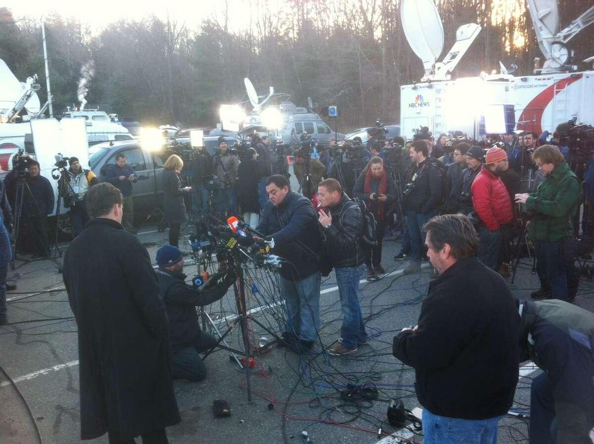 Media prepare for a press conference last month on Sandy Hook Elementary School shootings. Peter Hvizdak/Register