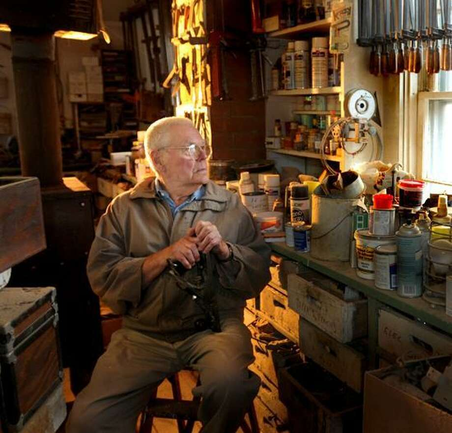 "Peter Hvizdak/Register photo: Normand Methot says, ""Wood is like people ... Every piece is different, and getting to know different species is a lifelong endeavor."" Photo: New Haven Register / ©Peter Hvizdak /  New Haven Register"