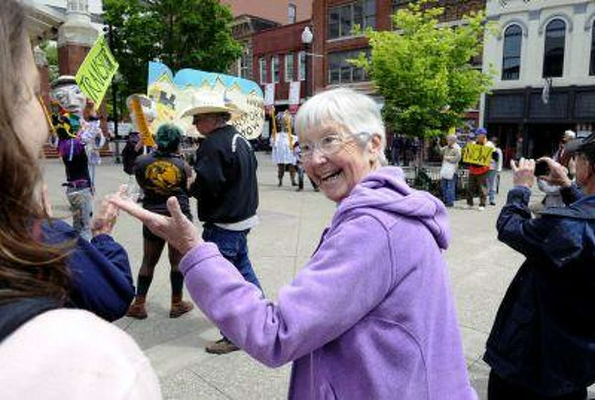 Activist Sister Megan Rice attends a rally by supporters before her trial with fellow anti-nuclear weapons activists Michael Walli, 64, and Greg Boertje-Obed, 56, on Monday, May 6, 2013, in Knoxville, Tenn.