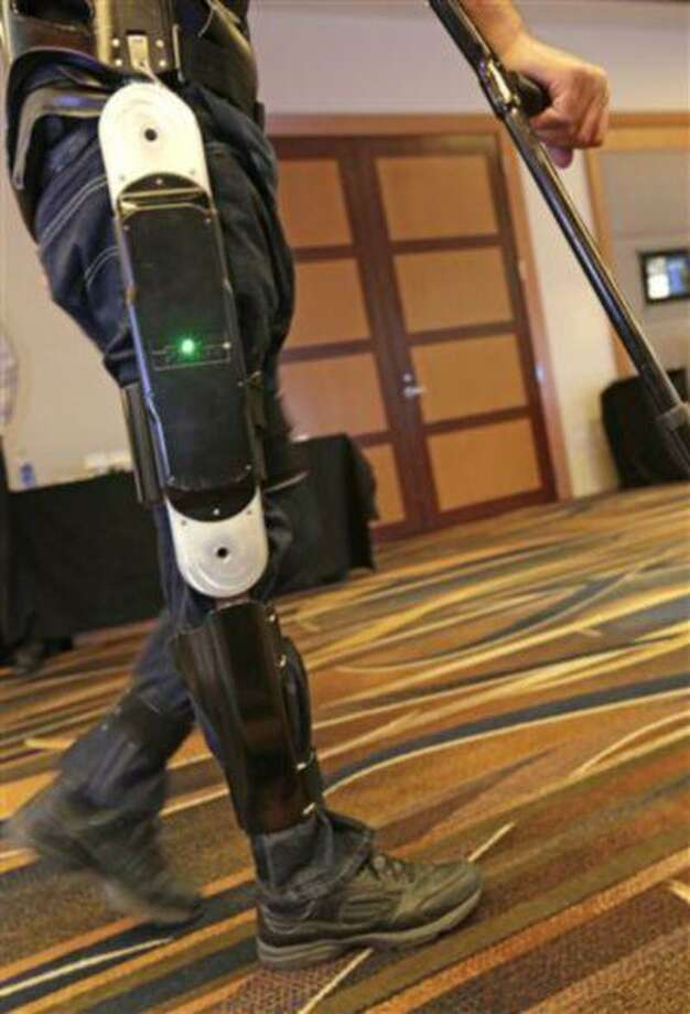 This Indego device is among several competing products that hold promise for people with spinal injuries, like Michael Gore (pictured), and for people with multiple sclerosis and cerebral palsy or for those recovering from strokes. Photo: AP / AP