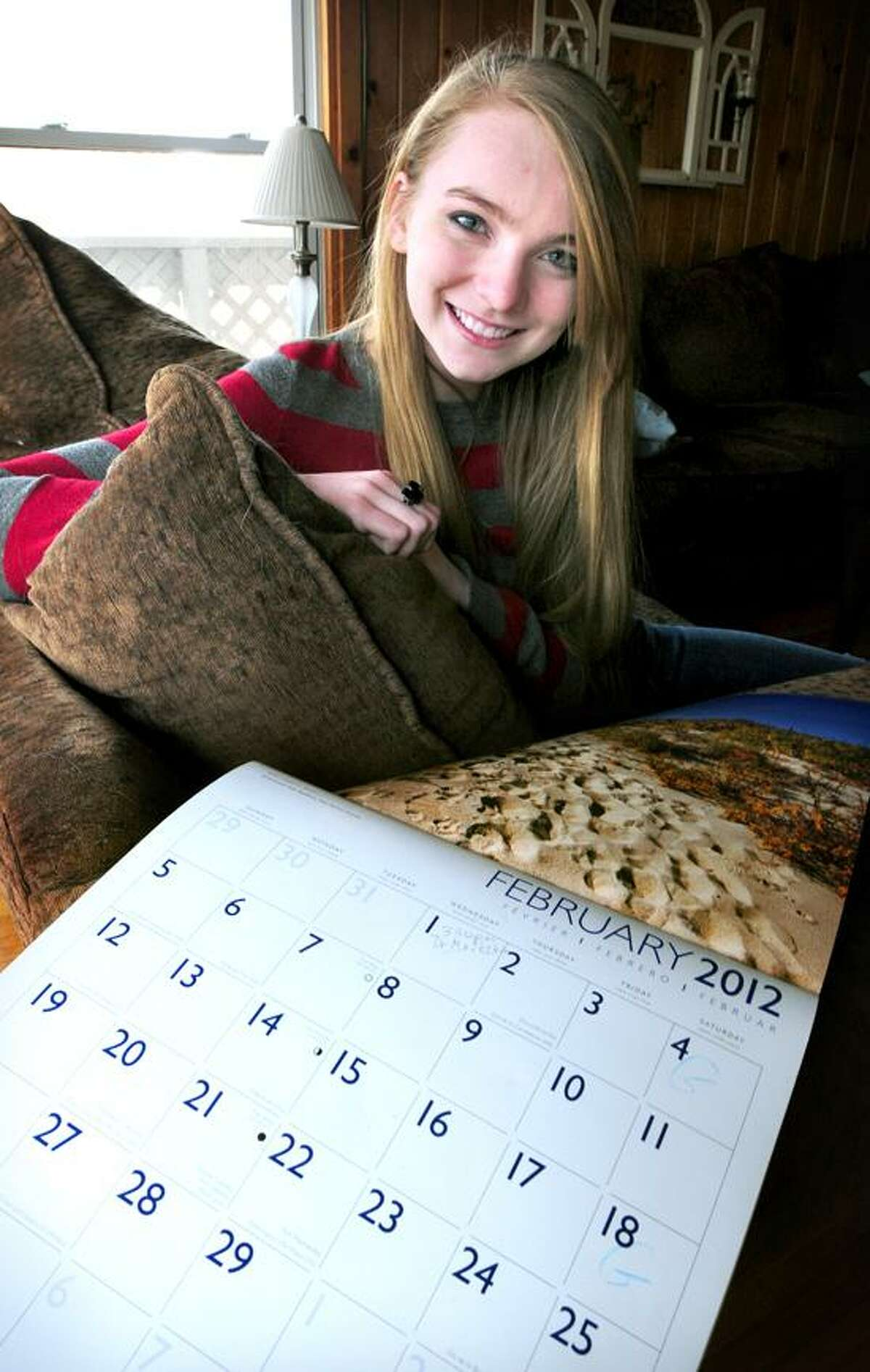 Emily Thibodeau, whose birthday is on February 29th, is photographed at her home in Clinton on 2/27/2012.Photo by Arnold Gold/New Haven Register AG0441B