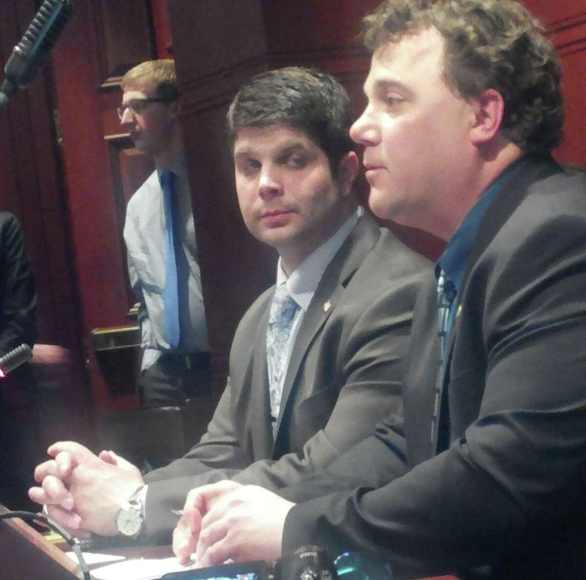 Middletown Mayor Dan Drew and Common Councilman Todd Berch in Hartford