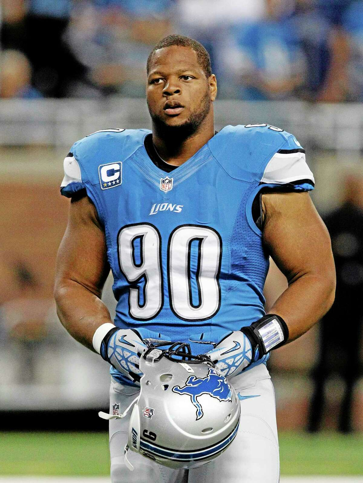 Duane Burleson — The Associated Press Detroit Lions defensive tackle Ndamukong Suh was fined $100,000 for an illegal low block against Minnesota center John Sullivan during an interception return Sunday.