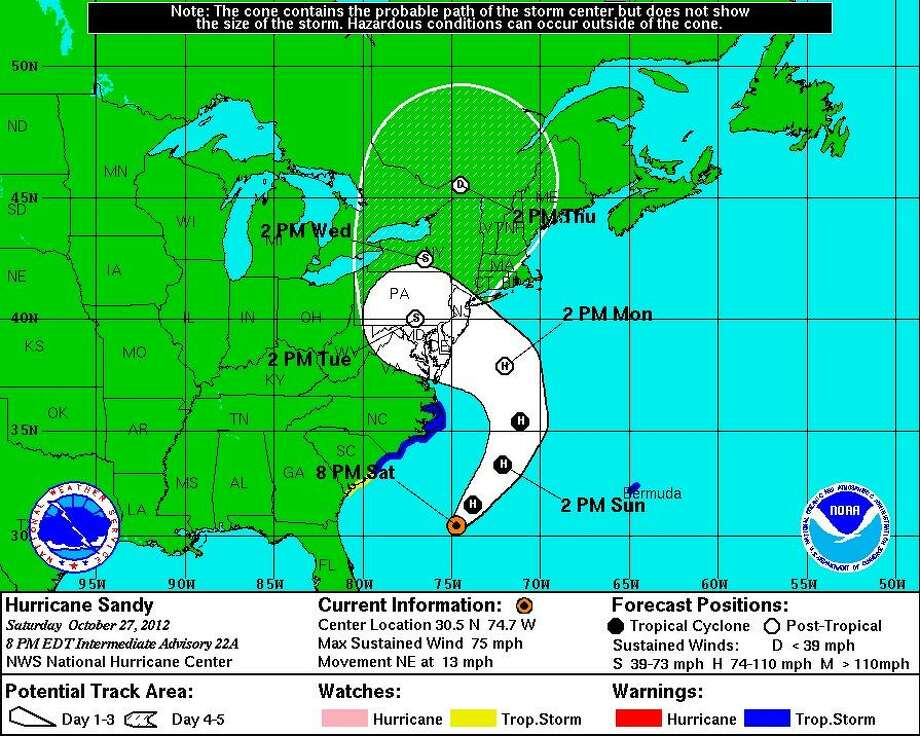 Hurricane Sandy's projected path as of 8 p.m. Saturday, courtesy of the National Hurricane Center.