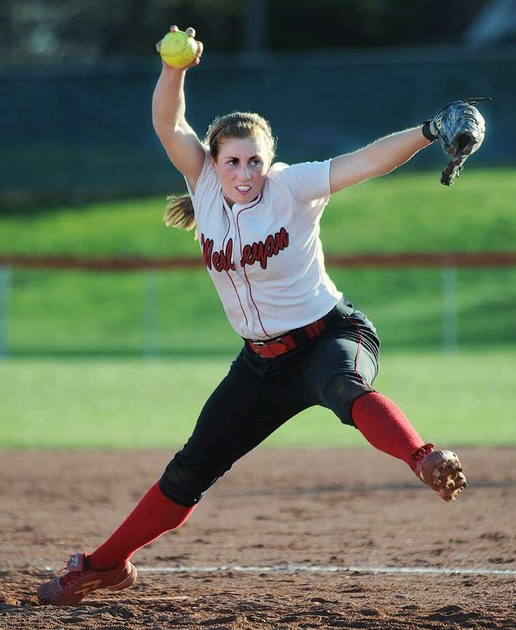 Catherine Avalone/The Middletown Press  Wesleyan junior Laura Getchell of Raymond, Maine on the mound against in Wednesday's double header against Trinity College. The Cardinals defeated Trinity 6-3 in Middletown. Getchell's record improves to 8-4. / TheMiddletownPress