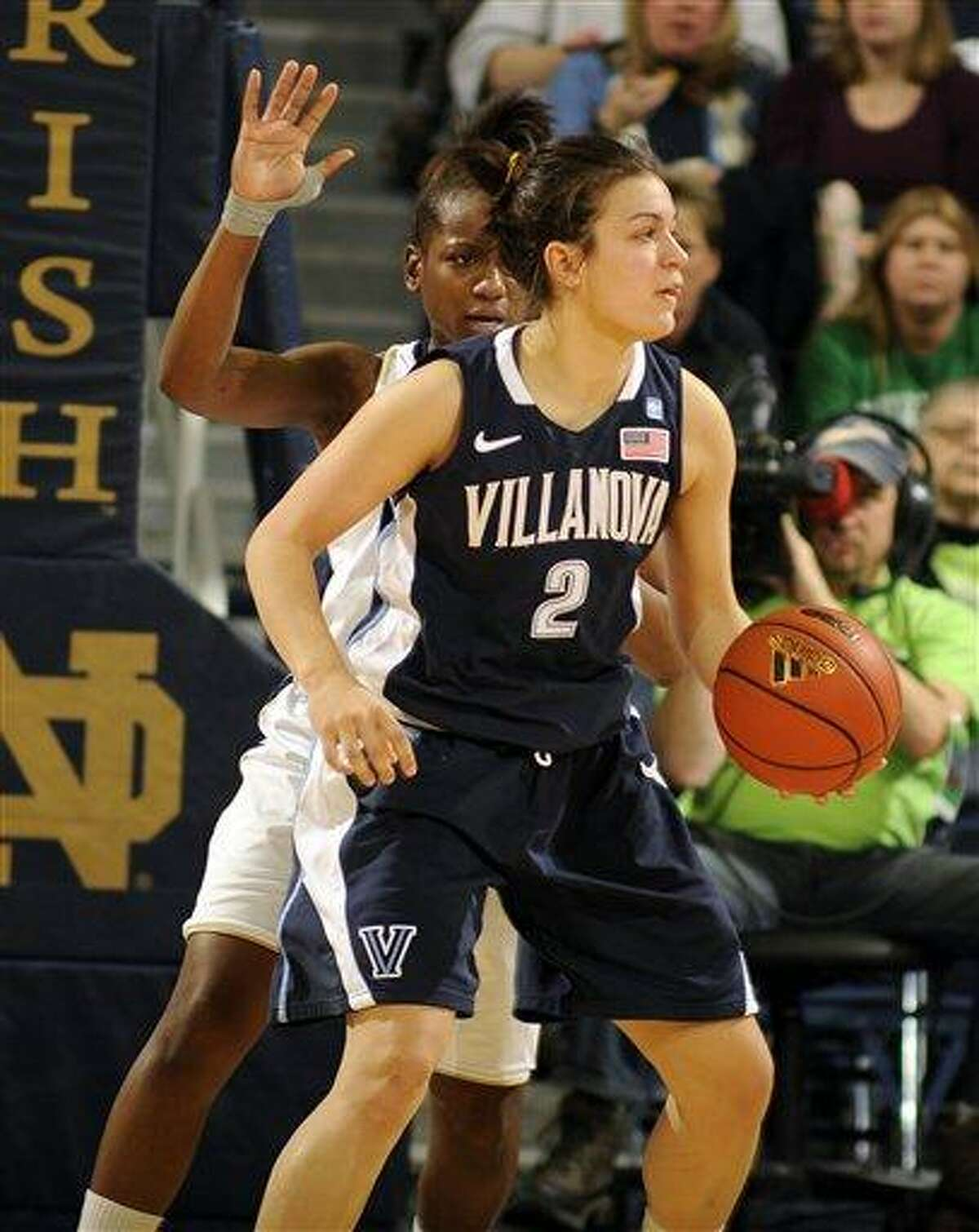 Villanova guard Rachel Roberts, right, works the ball against Notre Dame's Kaila Turner defends during the second half of an NCAA college basketball game, Saturday, Jan. 21, 2012, in South Bend, Ind. Notre Dame won 76-43 (AP Photo/Joe Raymond)