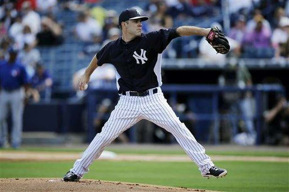 New York Yankees' David Phelps in action during a spring training exhibition baseball game against the Toronto Blue Jays, Thursday, Feb. 28, 2013, in Tampa, Fla. (AP Photo/Matt Slocum) Photo: ASSOCIATED PRESS / AP2013
