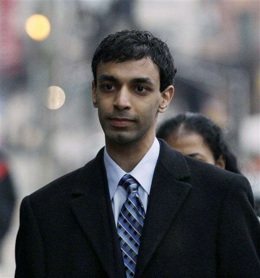 Former Rutgers University student, Dharun Ravi, arrives for the opening arguments at his trial in New Brunswick, N.J., Friday, Feb. 24, 2012. A prosecutor and defense lawyer will make their initial pitches to jurors Friday.  Associated Press Photo: AP / AP