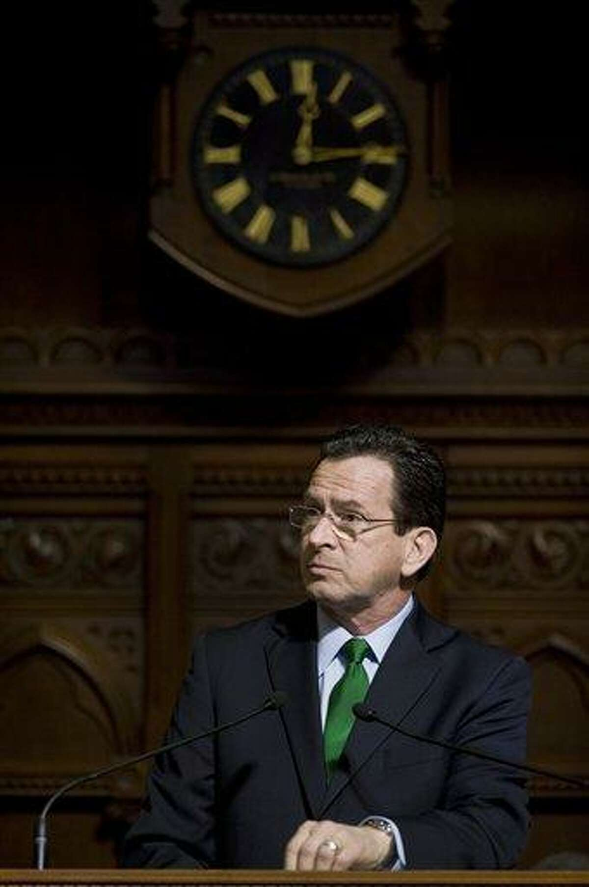 Gov. Dannel P. Malloy delivers the State of the State address at the State Capitol in Hartford earlier this month. Associated Press