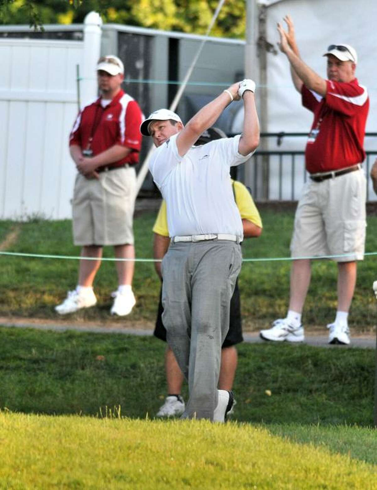 J.J. Henry Tees off on the first hole during the opening round of the Travelers Golf Championship in Cromwell, CT. Photo by Greg Vasil for the New Haven Register 062112.