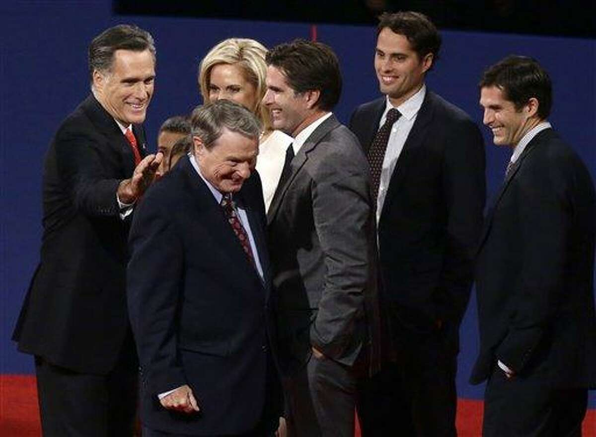 Republican presidential candidate, former Massachusetts Gov. Mitt Romney pats moderator Jim Lehrer on the back at the end of the first presidential debate with President Barack Obama in Denver. When it comes to debates, Mitt Romney loves the rules. AP Photo/Charles Dharapak
