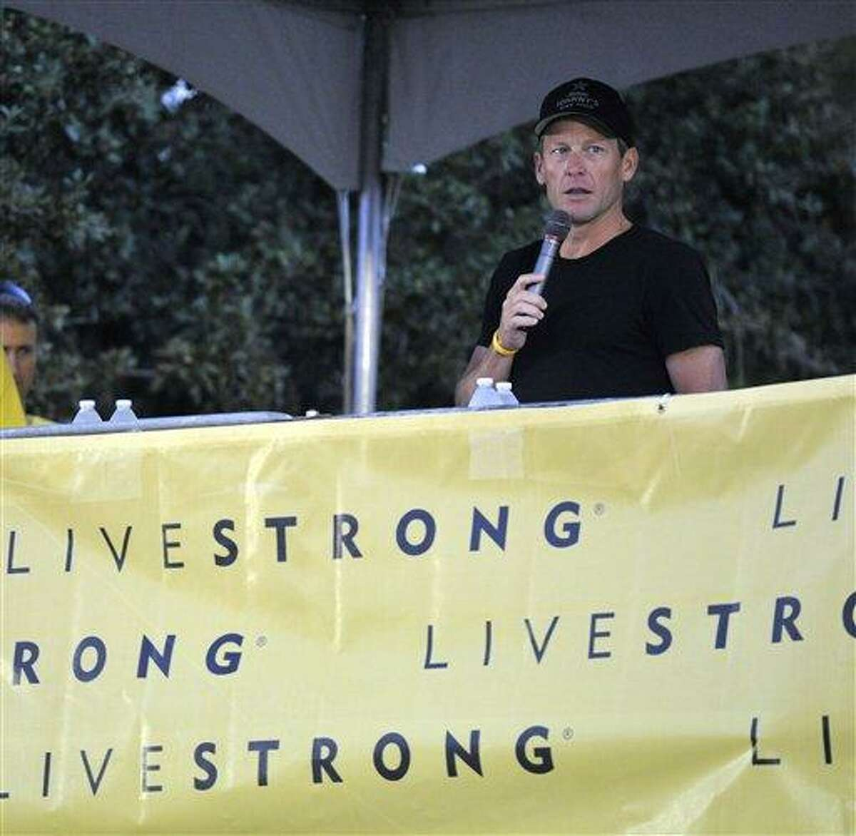 Lance Armstrong speaks at the Livestrong Challenge Austin bike ride Sunday. AP Photo/Michael Thomas