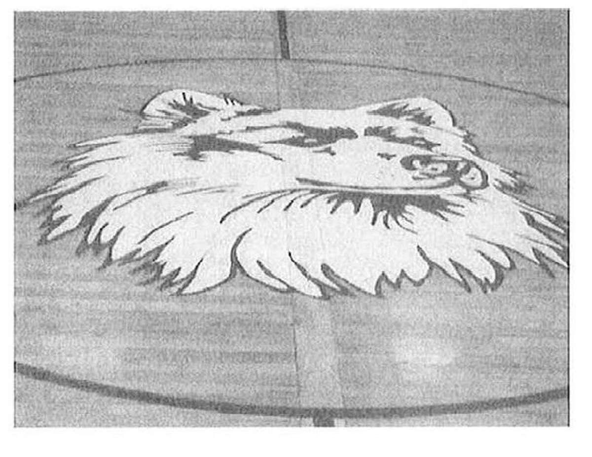 The Husky logo on the Morgan School gym floor.