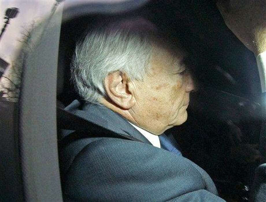 Former International Monetary Fund leader, Dominique Strauss-Kahn, arrives at a police station in Lille, northern France, Tuesday. Prosecutors in the northern city of Lille are investigating a suspected prostitution ring in France and neighboring Belgium. The former IMF chief wants to be questioned by police so that he can debunk claims that he was linked to a suspected hotel prostitution ring. Associated Press Photo: AP / AP