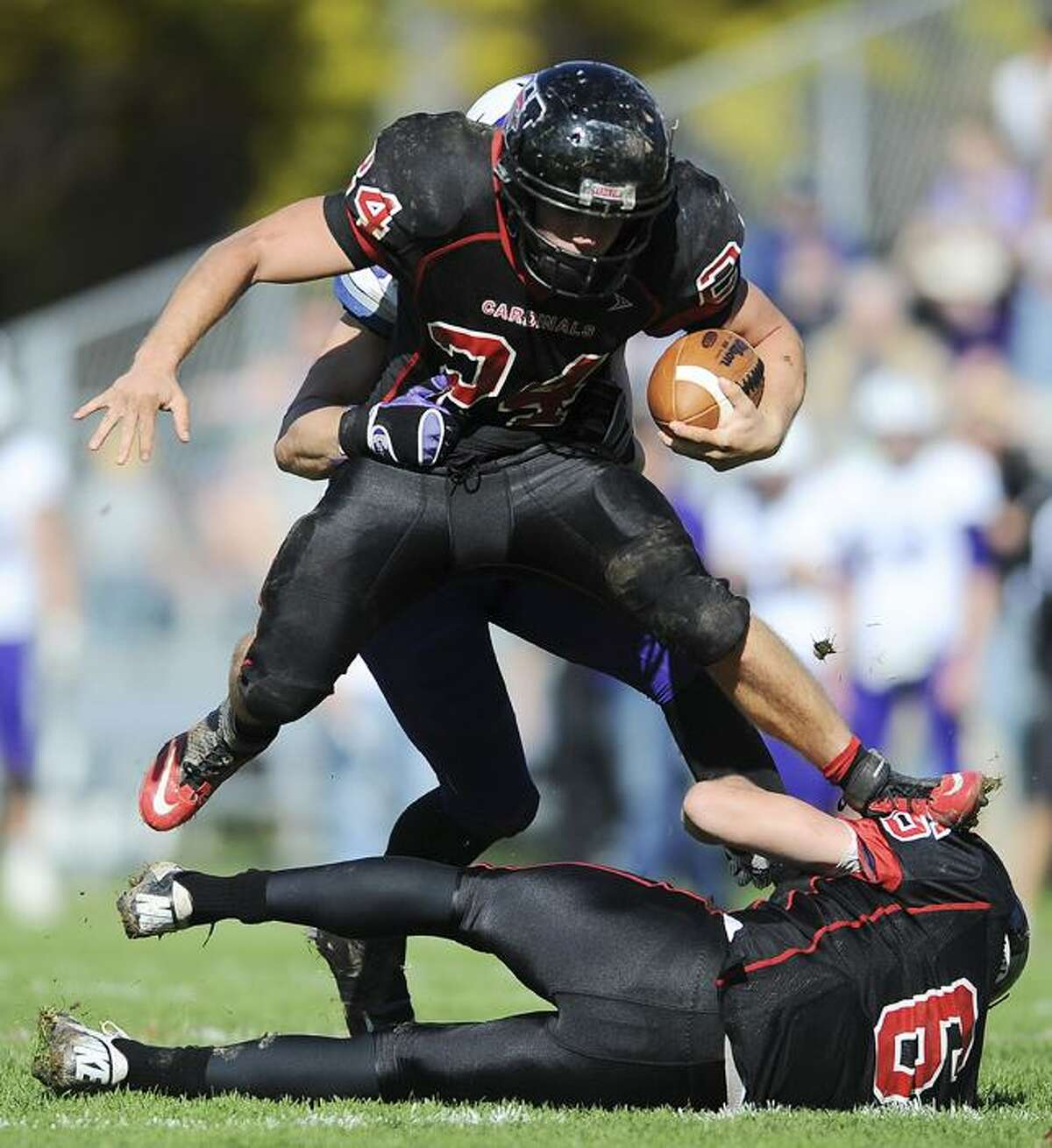 Special to the Press 10.20.12 Donnie Cimino, #11, nearly intercepts an Amherst pass in the third quarter of a 17-9 Amherst win Saturday at Andrus Field.