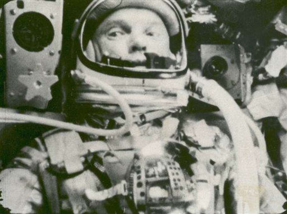 This Feb. 20, 1962 file photo provided by NASA shows astronaut John Glenn during his space flight in the Friendship 7 Mercury spacecraft, weightless and traveling at 17,500 mph. The image was made by an automatic sequence motion picture camera. Associated Press Photo: AP / NASA