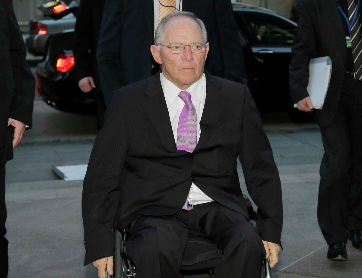 German Finance Minister Wolfgang Schaeuble arrives at a G20 dinner at the reuniÛn World Bank and the International Monetary Fund April 18 in Washington. The group is now meeting in St. Petersburg, Russia. (AP Photo/Alex Brandon)