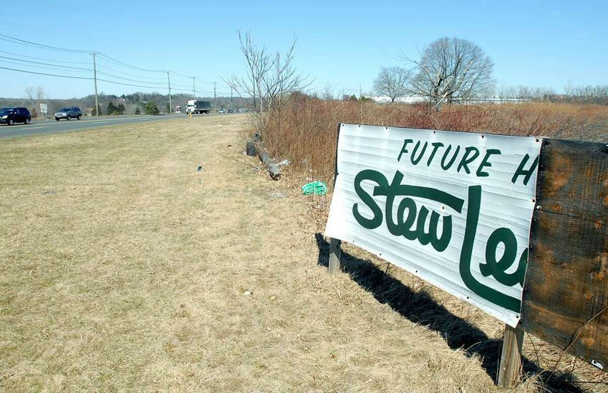 The remains of the Stew Leonard Jr.'s sign on Marsh Hill Road in Orange. Arnold Gold/Register file photo
